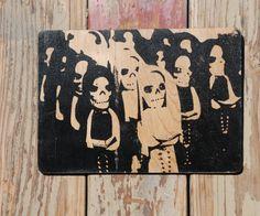 Dia de los Muertos bride and groom  wood by valazozartandvintage, $20.00