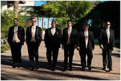 Groom and groomsmen walking at the Arizona Grand Resort in Phoenix, Arizona.