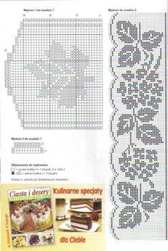 Bordo a crochet 123 Cross Stitch, Cross Stitch Patterns, Crochet Patterns, Crochet Curtains, Crochet Doilies, Crochet Home, Knit Crochet, Image Chart, Crochet Embellishments