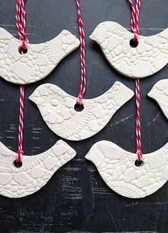 6 Christmas Ornaments White / Gold Ceramic Birds Hand made Holiday Tree Decorations Crochet texture Red & white twine or Choose ribbon color