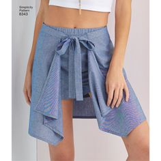Create the perfect spring look with these wrap skirts and shorts. Pattern offers under skirt in two lengths and shorts with a long or short built-in over wrap. Simplicity sewing pattern from American Sewing Guild.