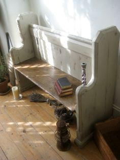 Pretty Painted Shabby Chic Painted Antique Pine Church Pew Bench