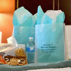 Clear frosted 8 x 5 x 10 gift bag personalized with four lines of text in Metallic Teal with lines and 4 in Caslon and line 2 in Cheltenham letter style and shown with aqua and white tissue paper Wedding Gift Card Box, Wedding Gifts For Guests, Wedding Welcome Bags, Wedding Favors, Wedding Ideas, Wedding Pics, Dream Wedding, Wedding Dresses, Wedding Guest List