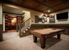 Fabulous basement games room with separate wine cellar. The basement features tongue and groove . Game Room Basement, Basement Ideas, Basement Pool, Basement Stairs, Garage Ideas, Wine Cellar Basement, Game Room Design, Luxury Interior Design, Basement Remodeling