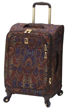 London Fog Soho 21 Inch Expandable Spinner Carry-On, Brown Paisley, One Size. High density dobby polyester and lightweight paisley polyester material. Low profile 360 degree multi-directional wheels mounted to grid base for stability. Convenient top, side and bottom carry handles. Interior has integrated shoe pockets and a zippered mesh pocket on lid. 21x10x14.