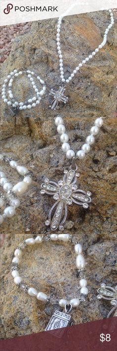 Rhinestone cross pendant & pearl strand necklace  So fun to wear, looks really great with a jean jacket or some boot kickin fun! This comes with 2 bracelets that I paired with this piece  Jewelry Necklaces