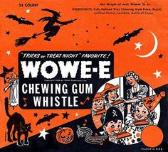 Shop Vintage Wowee Chewing Gum Halloween Whistle WOWE-E Throw Pillow created by Personalize it with photos & text or purchase as is! Retro Halloween, Vintage Halloween Images, Vintage Halloween Decorations, Halloween Candy, Holidays Halloween, Happy Halloween, Halloween Stuff, Halloween Countdown, Halloween Night