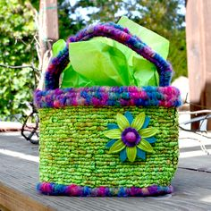 """Locker Hooked Easter Basket - Hooked on 5-Mesh Canvas with fabric strips and yarn. From the """"Hook, Loop & Lock"""" book."""