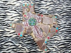 Mosaic Texas with red metal cross!