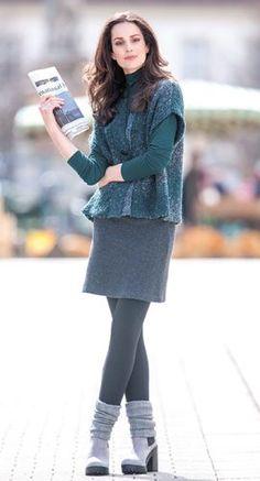 Nachhaltige Mode - Weste aus Schurwolle in Farbverlauf, Shirt aus Bio Baumwolle mit Modal Edelweiss, Minirock aus Double Face in Schurwolle / Bio Baumwolle, Größen S bis XL - Finesse Fashion ©