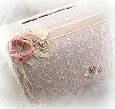 Wedding Money Box, Blush, Rose, Ivory, Wedding Card Box, Invitation Box, Wedding Card Holder, Elegant, Vintage Style, Lace, Crystals, Pearls