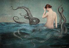 Sprawling Beauty by Daria Petrilli Daria Petrilli, Fiction, Italian Artist, Art Studies, Surreal Art, Dark Art, Mixed Media Art, Printmaking, Photo Art