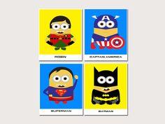 Nursery Decoration- Minion superhero Nursery decor Nursery Art, Kids Wall Art - 11x14 on Etsy, $39.99