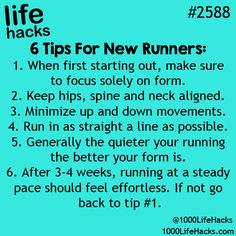 Ideas fitness tips facts life hacks for 2019 Running Tips, Xc Running, Running Everyday, Running Plan, Start Running, Running Humor, Health Challenge, Simple Life Hacks, Life Hacks