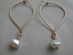 Gift For Mom, Earrings, Bridal Simple White Fresh Water Pearls Handmade Earrings, In Gold, Anniversary , Wedding, Gift For Her, HOLIDAY SALE