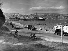 EVANS BAY - shows: 1 large passenger ship, 2 smaller ships/boats facing different directions & 1 small white boat in front of others . Wellington New Zealand, Bay Photo, Merchant Navy, Kiwiana, South Island, What Is Like, Boat, Gallery, 1930s
