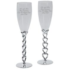 Personalised Champagne Flutes with Silver Plated Heart Stems Engraved Champagne Flutes, Champagne Gifts, Best Wedding Gifts, Our Wedding, Wedding Gift Inspiration, Inspirational Gifts, Silver Plate, Birthday Gifts, Stems