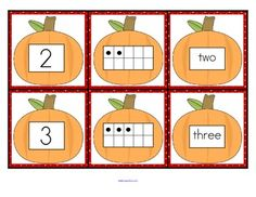 FREE Set of pumpkin number cards 0-10 for sequencing, recognition, memory and hiding/finding games, and matching.