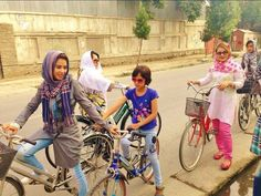 Pictures from #Kabul, #Afghanistan. #Afghan women out riding bicycles. Refreshing scenes!