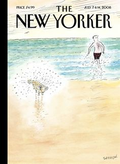 """The New Yorker cover: July 7 & 14, 2008. """"First Bath,"""" by Jean-Jacques Sempé."""