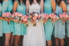 BRIDESMAID: Blue dresses peach flowers BRIDE: WHITE AND CORAL AND TURQUOISE BOUQUET