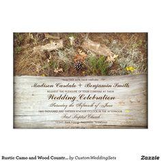 Rustic Camo and Wood Country Wedding Invitations #wedding #camo