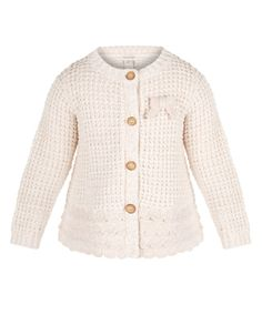 Our Molly cardigan for baby girls is destined to become a keepsake. Knitted in a soft cotton blend with rose gold yarn, it features a pretty bow, mock horn buttons and a scalloped hem.