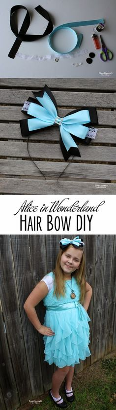 Alice in Wonderland Hair Bow Headband!  I love Alice's Adventures in Wonderland and Through the Looking Glass,  they are both a fun re...