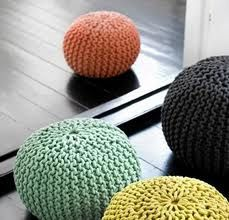 Knitting poufs