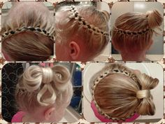 4 braid french braid with ribbons, bow tie