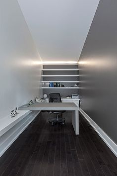 great use of space for narrow office