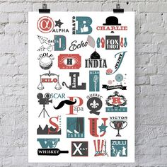 'Phonetic Alphabet' Vintage Style Print from notonthehighstreet.com