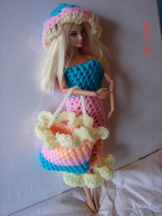 Hand Crocheted Barbie Doll Outfit beach dress by SarahRajkotwala