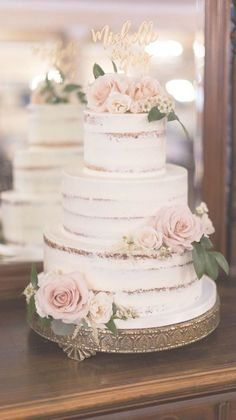 vintage semi naked wedding cake with pink rosesYou can find Wedding cake designs and more on our website.vintage semi naked wedding cake with pink roses Textured Wedding Cakes, Blush Wedding Cakes, Buttercream Wedding Cake, Wedding Cake Rustic, Rustic Cake, Wedding Cakes With Flowers, Chic Wedding, Wedding Hacks, Party Wedding