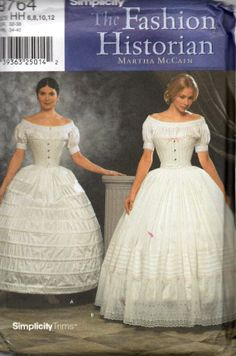 Simplicity 9764 Misses Historic Civil War Lingerie Pattern Hoopskirt and Petticoat Fashion Historian Martha McCain  by mbchills