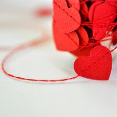 Tiny Red Hearts Stitched Paper Garland.