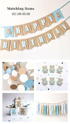 Personalized Baby Boy Name Banner Teddy Bear 1st Birthday