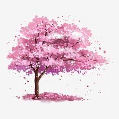 Pink Blossom Tree, Blossom Tree Tattoo, Cherry Blossom Watercolor, Cherry Blossom Petals, Cherry Blossom Season, Watercolor Trees, Japanese Cherry Tree, Tree Illustration, Tree Art
