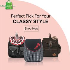 #saneswapit #handbags #backpacks #slingbags #shoulderbags From slings to clutches, backpacks to handbags, we have it all right here at www.saneswap.com! So suit your style and take your pick from our collection in the best of colors and textures for either the office wear or party night.