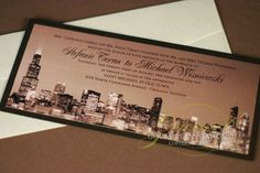 Chicago skyline wedding invitations sepia tone photo of the Chicago skyline. Designed as a tea length invitations this highlights the Chicago city like no other shape can.  Click to see more of the details or pin for later!