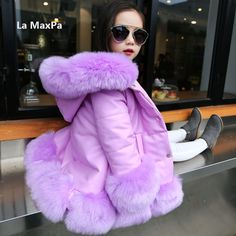 ==> [Free Shipping] Buy Best Kids girl's PU leather patchwork fox faux fur collar jacket coat down parkas thicken coat princess winter outerwear fur coat Online with LOWEST Price | 32764460531