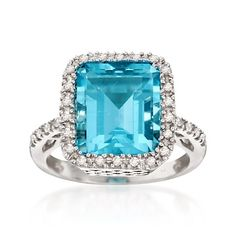 7.00 Carat Blue Topaz and .25 ct. t.w. Diamond Ring in Sterling Silver