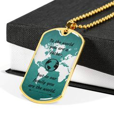 This is a unique gift to help celebrate that super cool dad in your life. The dog tag comes in gold and silver and prices start at $39.95.The message says: to the world you are a father, but to your family you are the world.#specialdadgift #bestdadgift #personalizeddadgift Personalized Gifts For Dad, Personalized Necklace, Best Dad Gifts, Glass Coating, You Are The World, Working Moms, Custom Engraving, You Are The Father, Dog Tag Necklace