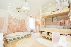 Boho Girls Room with custom built-in bunkbeds and comfy floor cushions