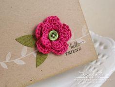Flor de crochet para tarjeta regalo. Tutorial con fotos   ❥Teresa Restegui http://www.pinterest.com/teretegui/ ❥