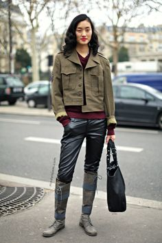#LinaZhang in Paris working those leather pants and off the charts boots. For. The. Win.