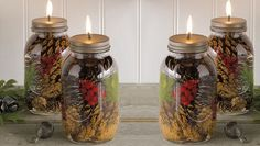 7 DIY Projects to make your house smell amazing for the holidays - (pictured) Holiday Scented Mason Jar Candles