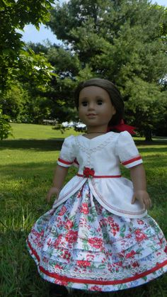 "18 inch Doll Gown Civil War Style gown with roses for you American Girl or other 18"" dolls skirt and top two piece set"