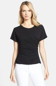 Theory 'Tact' Ruched Pima Cotton Tee available at #Nordstrom