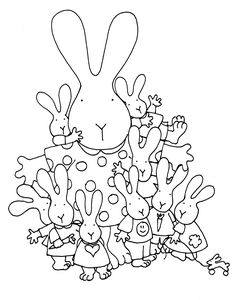 Mama Bunnie and Babies Easter Colouring, Colouring Pics, Coloring Book Pages, Embroidery Patterns, Hand Embroidery, Cross Stitch Patterns, Calendar Pictures, Fabric Journals, Digi Stamps